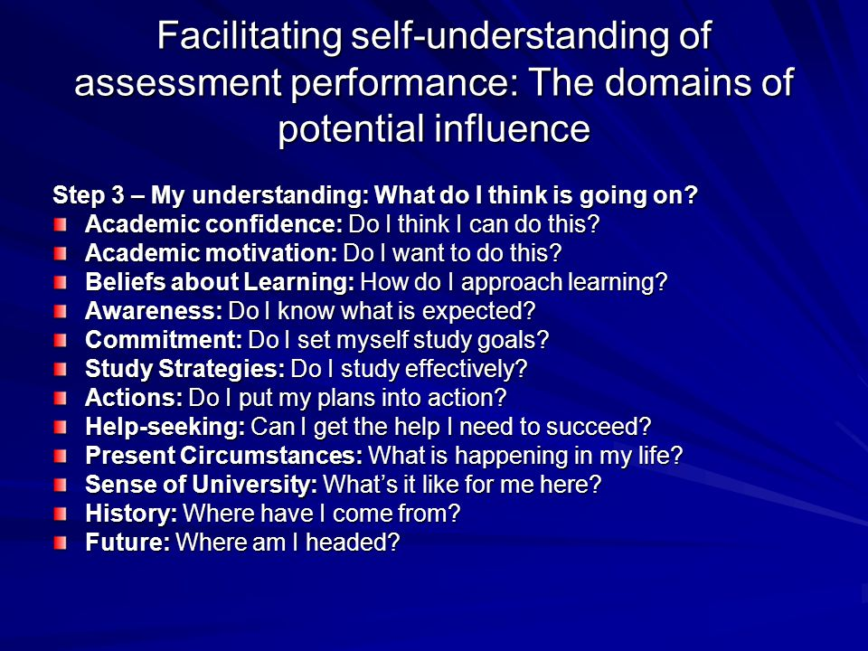 Facilitating self-understanding of assessment performance: The domains of potential influence Step 3 – My understanding: What do I think is going on?