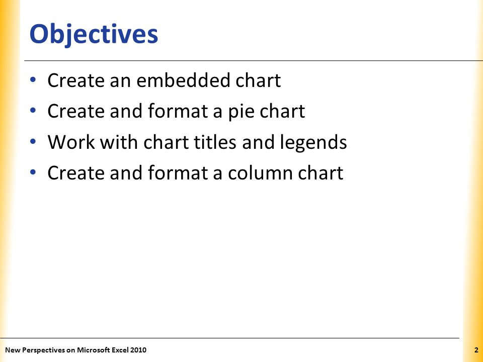 XP Editing and Revising Chart Data Modify the data range that the chart is based on (do not directly modify data in the chart) If values/labels in data source are changed, chart automatically updates to show new content New Perspectives on Microsoft Excel 201033
