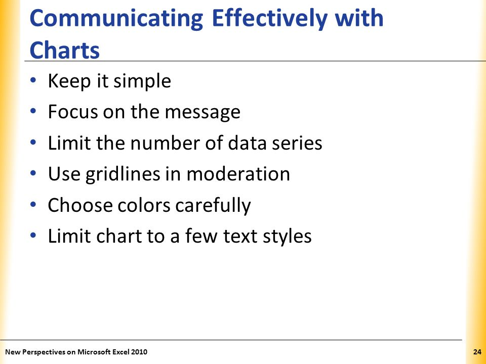 XP Communicating Effectively with Charts Keep it simple Focus on the message Limit the number of data series Use gridlines in moderation Choose colors carefully Limit chart to a few text styles New Perspectives on Microsoft Excel 201024