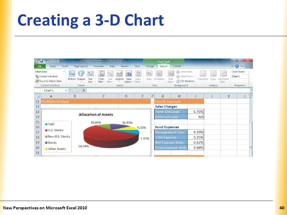 XP Creating a 3-D Chart New Perspectives on Microsoft Excel 201040