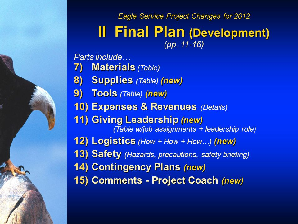 Eagle Service Project Changes for 2012 II Final Plan (Development) (pp.