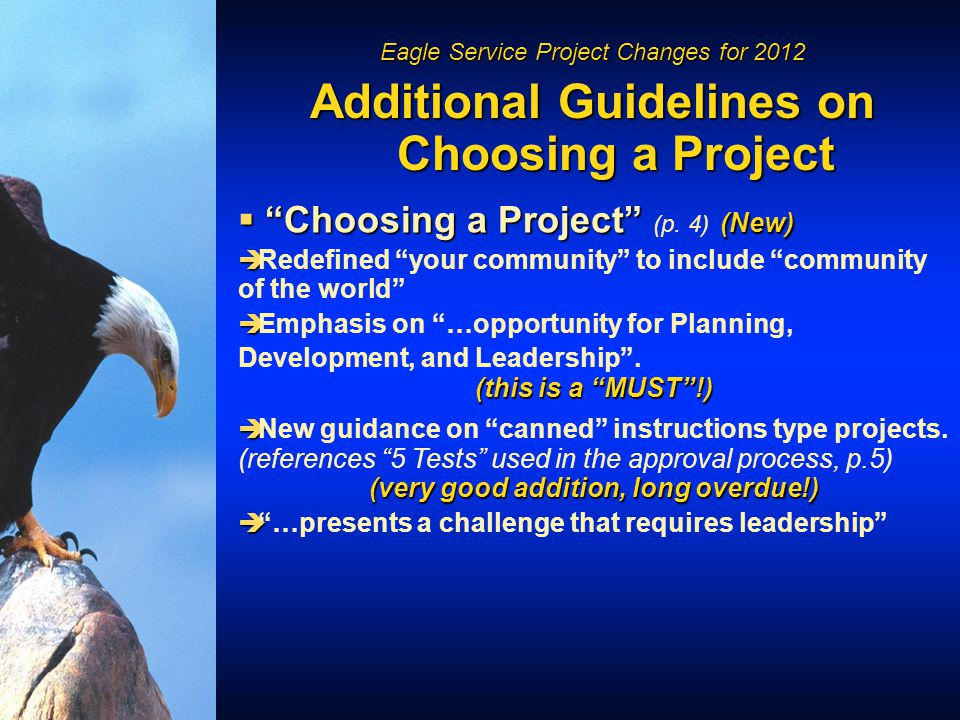 Eagle Service Project Changes for 2012 Additional Guidelines on Choosing a Project  Choosing a Project (New)  Choosing a Project (p.
