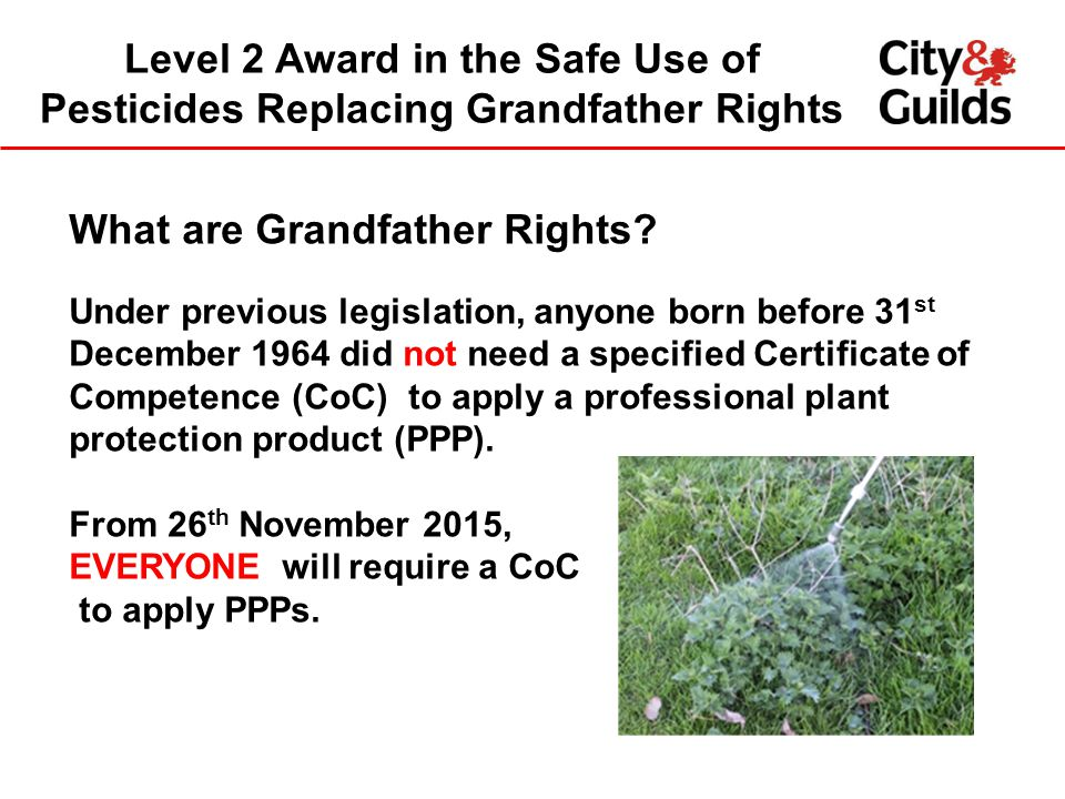 Level 2 Award in the Safe Use of Pesticides Replacing Grandfather Rights What are Grandfather Rights.