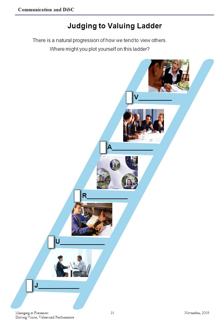 Managing at Fresenius: 31 November, 2009 Driving Vision, Values and Performance Judging to Valuing Ladder There is a natural progression of how we tend to view others.