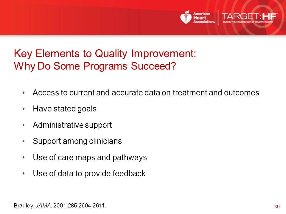Bradley. JAMA. 2001;285:2604-2611. Key Elements to Quality Improvement: Why Do Some Programs Succeed? Access to current and accurate data on treatment