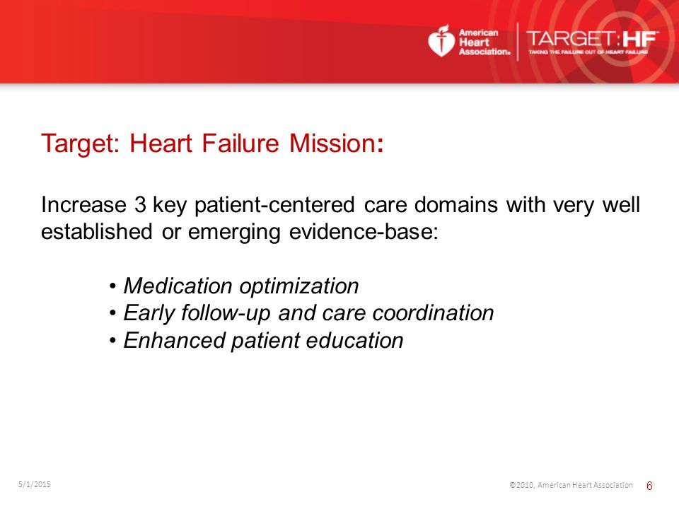 5/1/2015 ©2010, American Heart Association 6 Target: Heart Failure Mission: Increase 3 key patient-centered care domains with very well established or