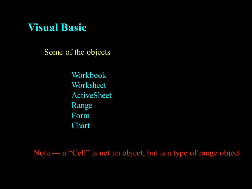 Visual Basic Some of the objects Workbook Worksheet ActiveSheet Range Form Chart Note --- a Cell is not an object, but is a type of range object
