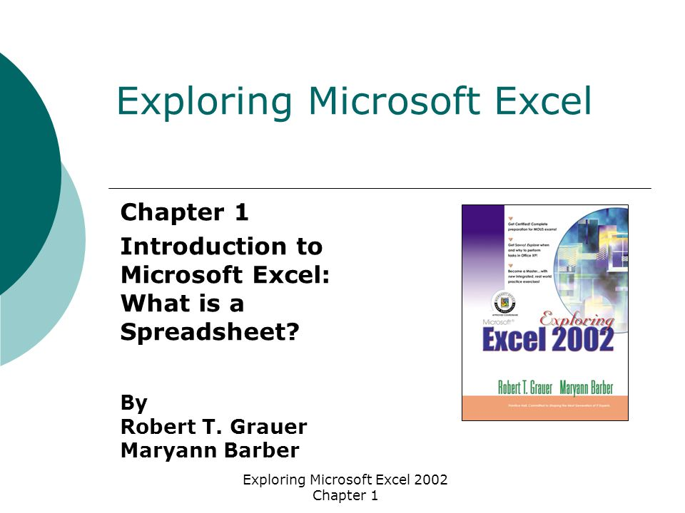 Exploring Microsoft Excel 2002 Chapter 1 Chapter 1 Introduction to Microsoft Excel: What is a Spreadsheet.