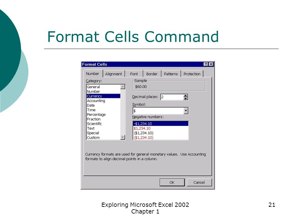 Exploring Microsoft Excel 2002 Chapter 1 21 Format Cells Command