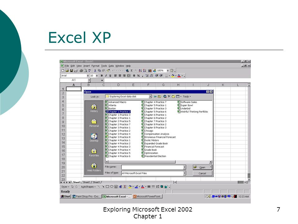 Exploring Microsoft Excel 2002 Chapter 1 7 Excel XP