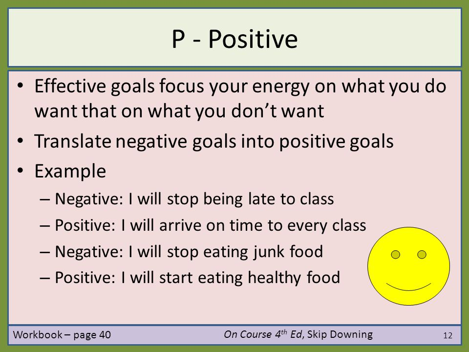 12 P - Positive Effective goals focus your energy on what you do want that on what you don't want Translate negative goals into positive goals Example