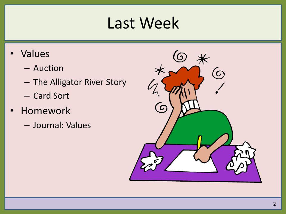 Last Week Values – Auction – The Alligator River Story – Card Sort Homework – Journal: Values 2