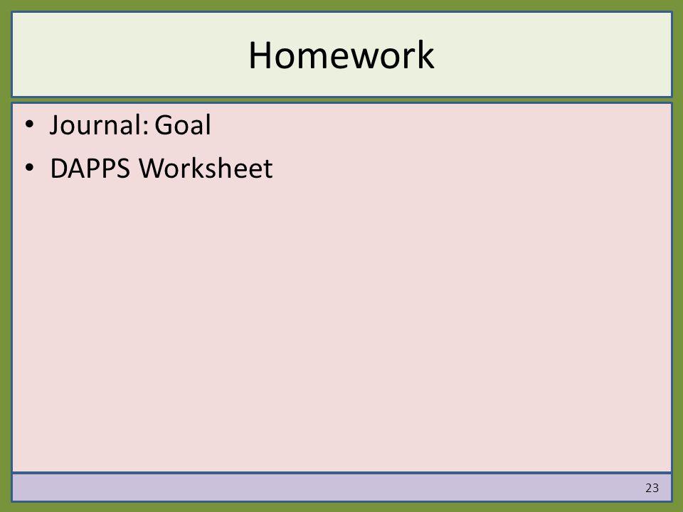 Homework Journal: Goal DAPPS Worksheet 23