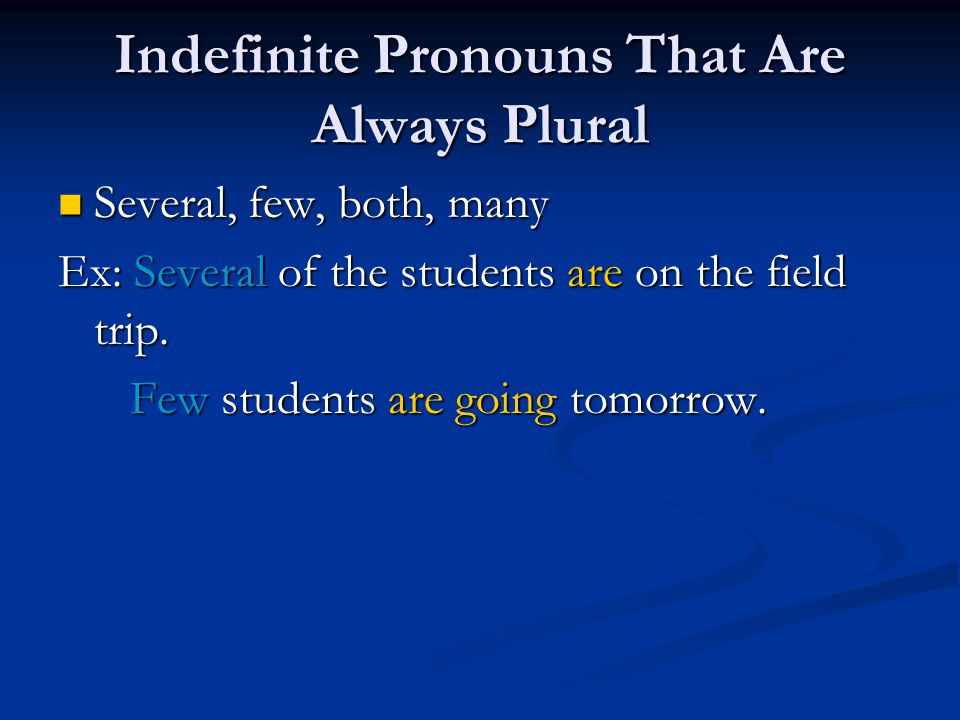 Indefinite Pronouns That Can Be Either Singular or Plural Some, all, most, none, any, more Some, all, most, none, any, more Ex: Most of the students are going.