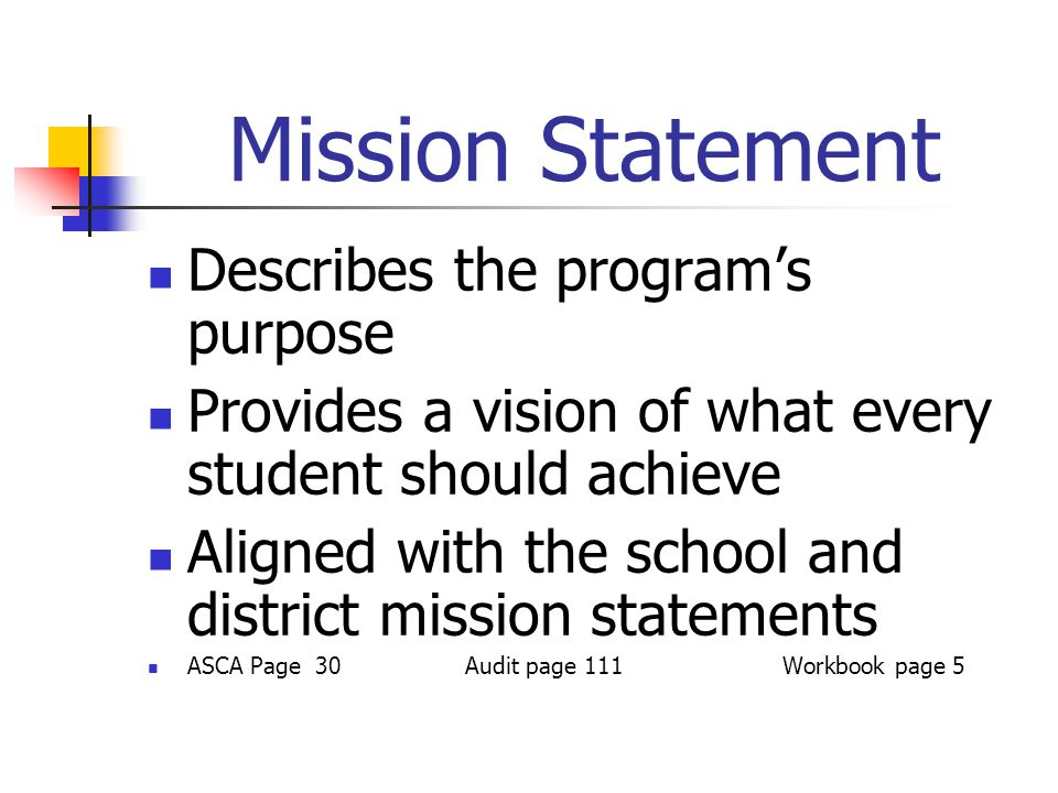 Mission Statement Describes the program's purpose Provides a vision of what every student should achieve Aligned with the school and district mission
