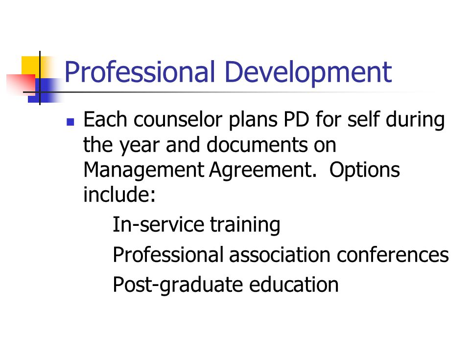 Professional Development Each counselor plans PD for self during the year and documents on Management Agreement. Options include: In-service training