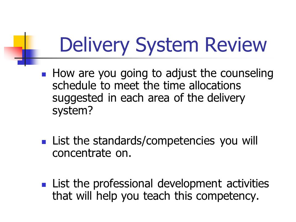 Delivery System Review How are you going to adjust the counseling schedule to meet the time allocations suggested in each area of the delivery system.