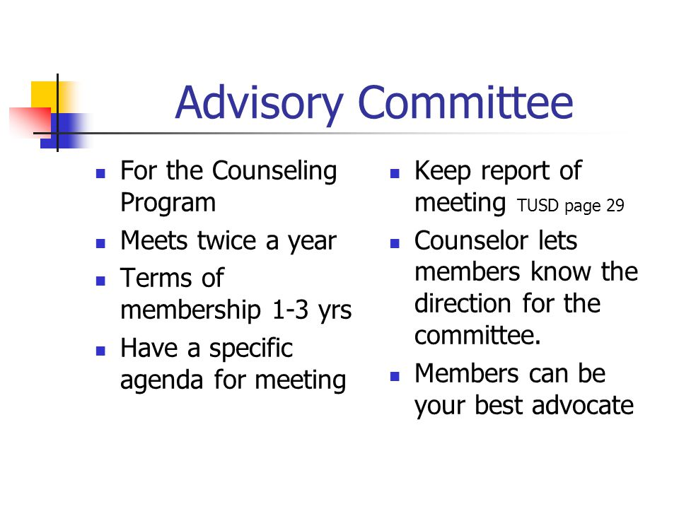 Advisory Committee For the Counseling Program Meets twice a year Terms of membership 1-3 yrs Have a specific agenda for meeting Keep report of meeting