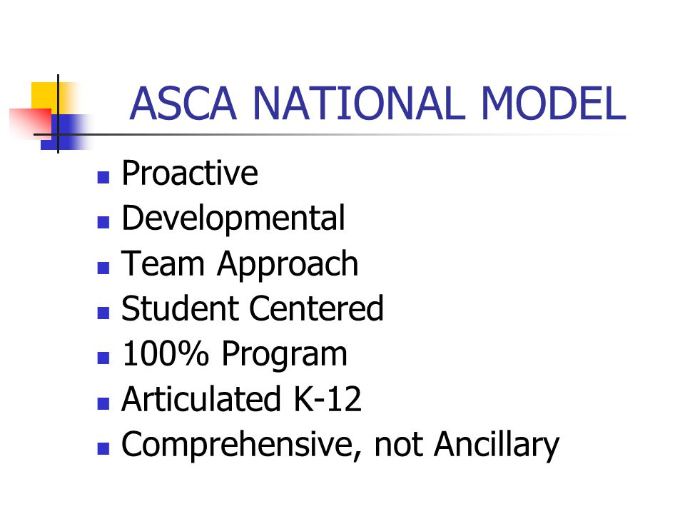 ASCA NATIONAL MODEL Proactive Developmental Team Approach Student Centered 100% Program Articulated K-12 Comprehensive, not Ancillary