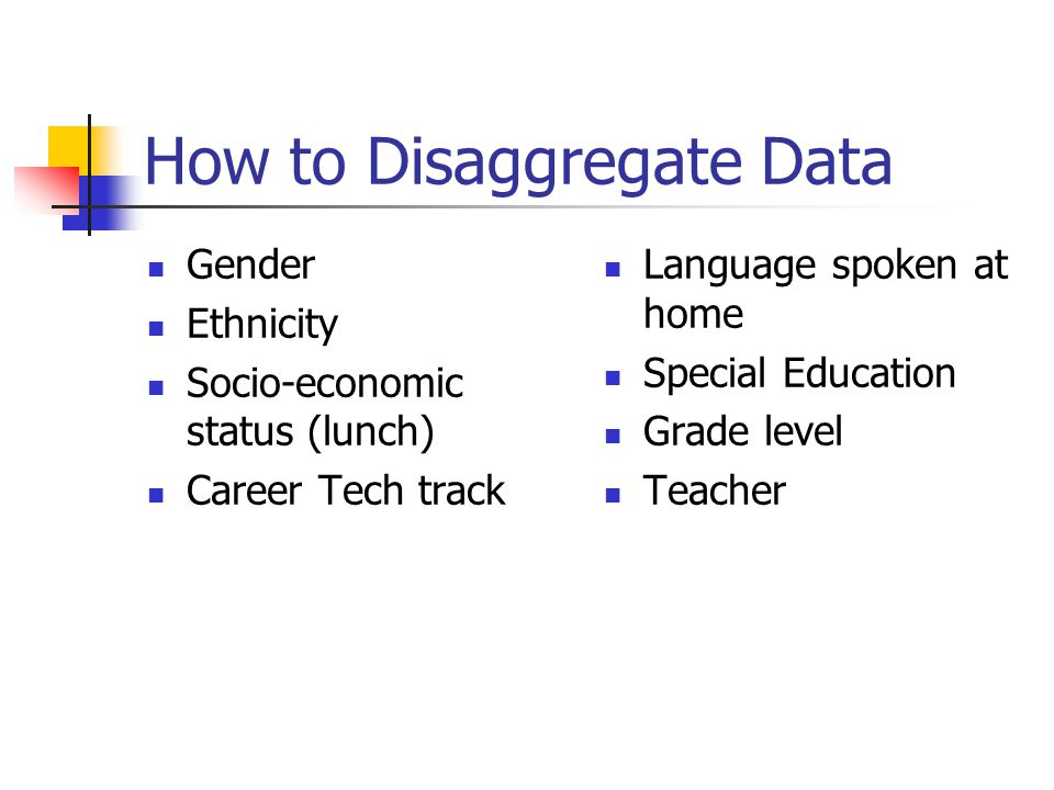 How to Disaggregate Data Gender Ethnicity Socio-economic status (lunch) Career Tech track Language spoken at home Special Education Grade level Teacher