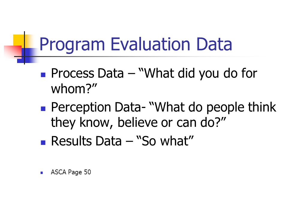 Program Evaluation Data Process Data – What did you do for whom Perception Data- What do people think they know, believe or can do Results Data – So what ASCA Page 50