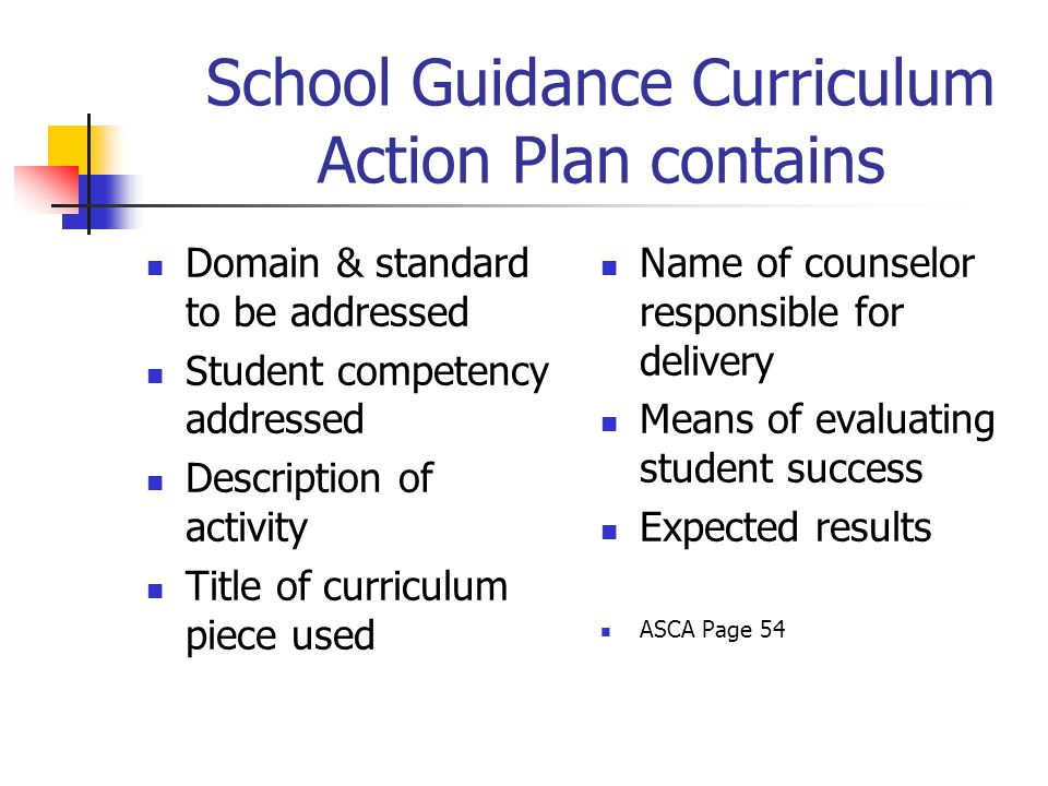 School Guidance Curriculum Action Plan contains Domain & standard to be addressed Student competency addressed Description of activity Title of curric