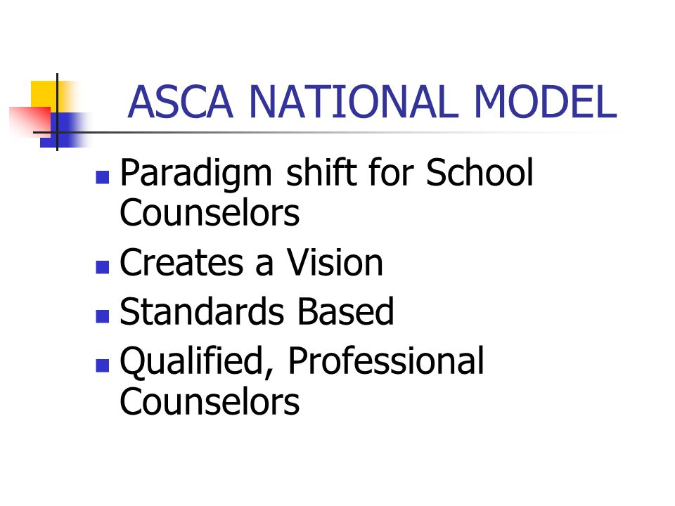 ASCA NATIONAL MODEL Paradigm shift for School Counselors Creates a Vision Standards Based Qualified, Professional Counselors