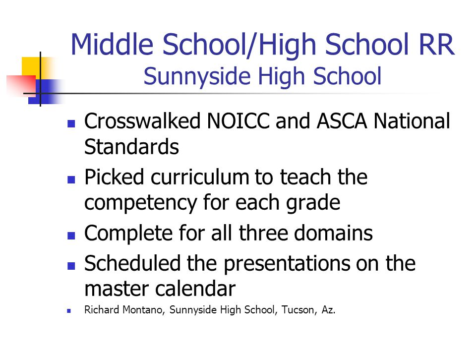 Middle School/High School RR Sunnyside High School Crosswalked NOICC and ASCA National Standards Picked curriculum to teach the competency for each grade Complete for all three domains Scheduled the presentations on the master calendar Richard Montano, Sunnyside High School, Tucson, Az.