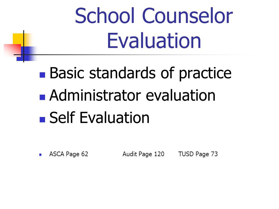 School Counselor Evaluation Basic standards of practice Administrator evaluation Self Evaluation ASCA Page 62 Audit Page 120TUSD Page 73
