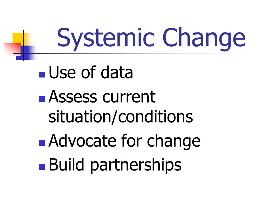 Systemic Change Use of data Assess current situation/conditions Advocate for change Build partnerships
