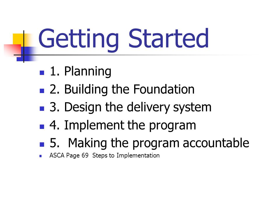 Getting Started 1. Planning 2. Building the Foundation 3. Design the delivery system 4. Implement the program 5. Making the program accountable ASCA P
