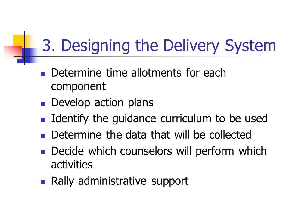 3. Designing the Delivery System Determine time allotments for each component Develop action plans Identify the guidance curriculum to be used Determi