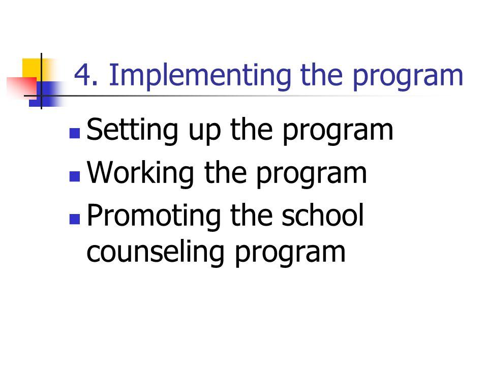 4. Implementing the program Setting up the program Working the program Promoting the school counseling program
