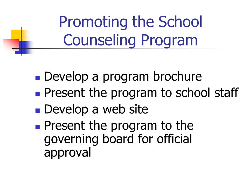 Promoting the School Counseling Program Develop a program brochure Present the program to school staff Develop a web site Present the program to the governing board for official approval