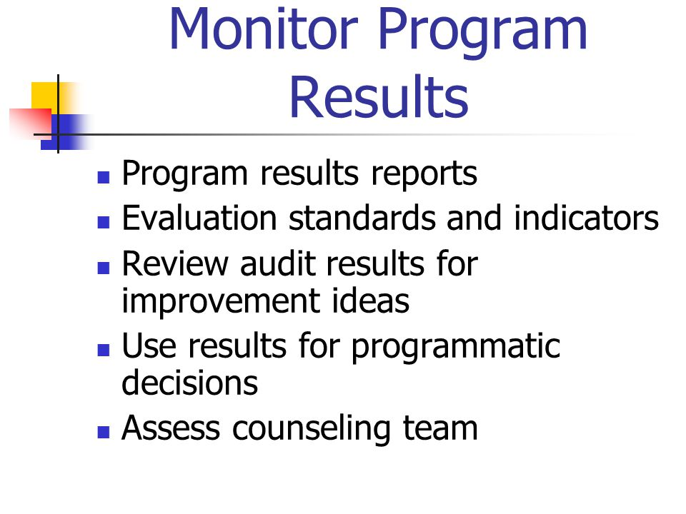 Monitor Program Results Program results reports Evaluation standards and indicators Review audit results for improvement ideas Use results for program