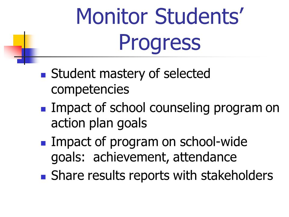 Monitor Students' Progress Student mastery of selected competencies Impact of school counseling program on action plan goals Impact of program on school-wide goals: achievement, attendance Share results reports with stakeholders