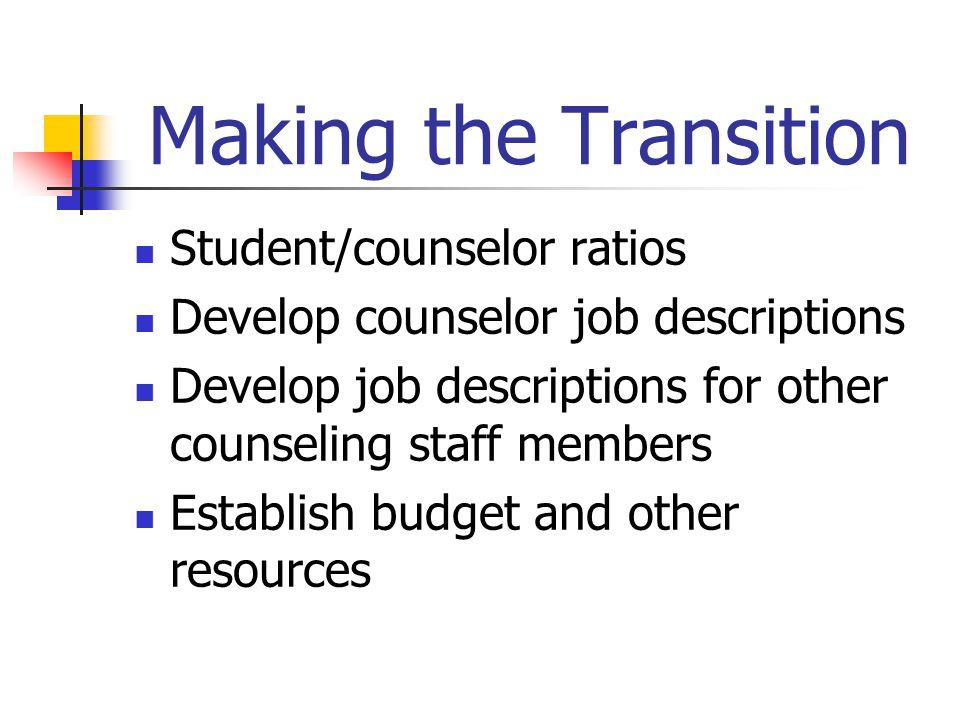 Making the Transition Student/counselor ratios Develop counselor job descriptions Develop job descriptions for other counseling staff members Establis