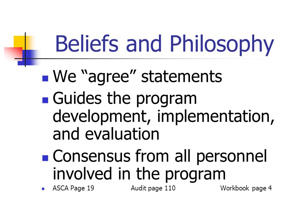 Beliefs and Philosophy We agree statements Guides the program development, implementation, and evaluation Consensus from all personnel involved in the program ASCA Page 19Audit page 110Workbook page 4