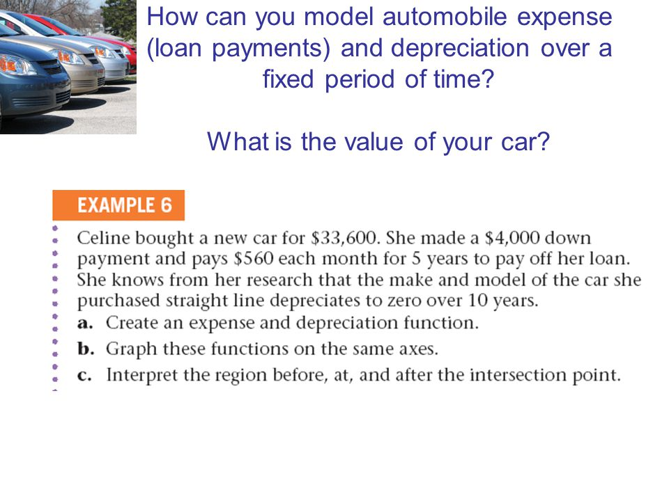 How can you model automobile expense (loan payments) and depreciation over a fixed period of time? What is the value of your car?