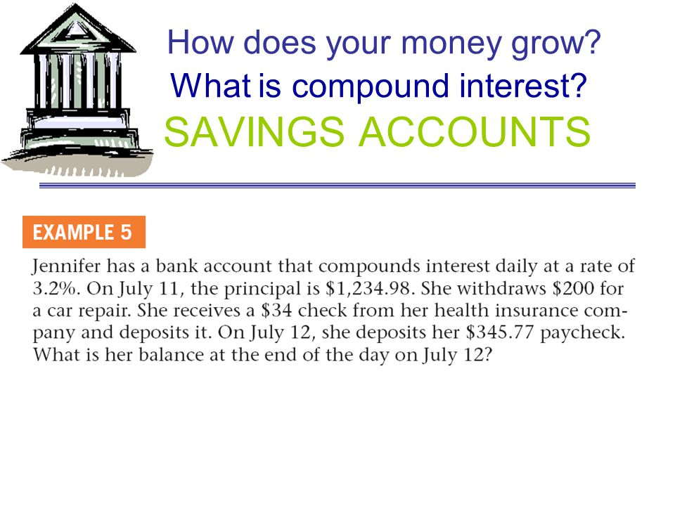 How does your money grow? What is compound interest? SAVINGS ACCOUNTS