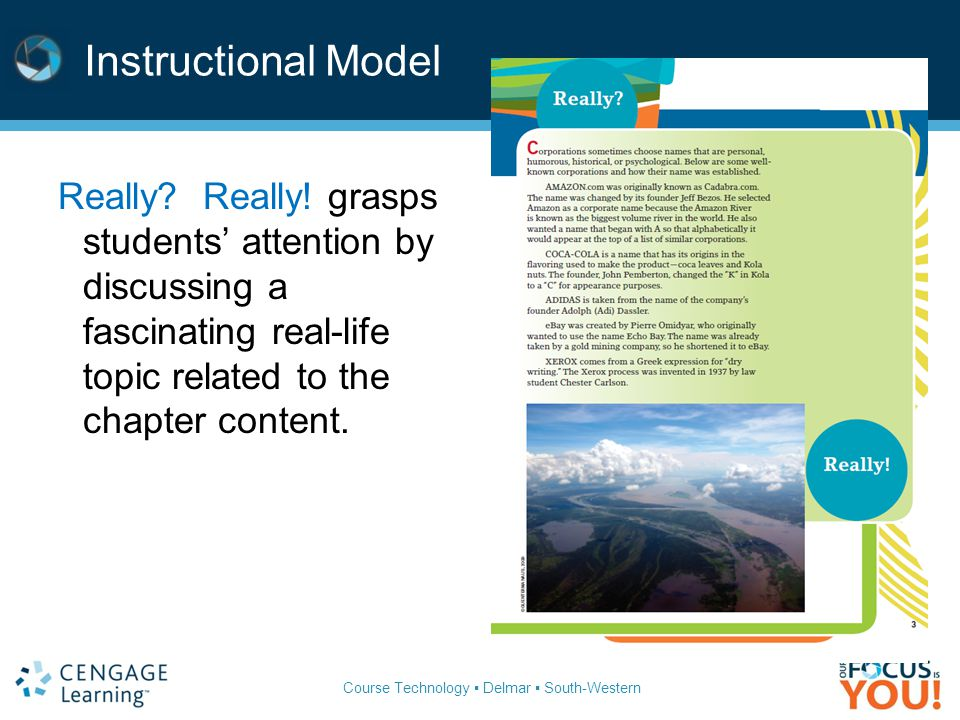 Course Technology ▪ Delmar ▪ South-Western Instructional Model Really? Really! grasps students' attention by discussing a fascinating real-life topic