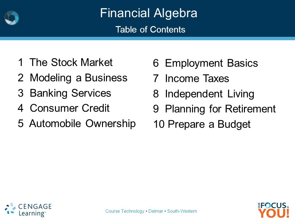 Course Technology ▪ Delmar ▪ South-Western Financial Algebra Table of Contents 1 The Stock Market 2 Modeling a Business 3 Banking Services 4 Consumer