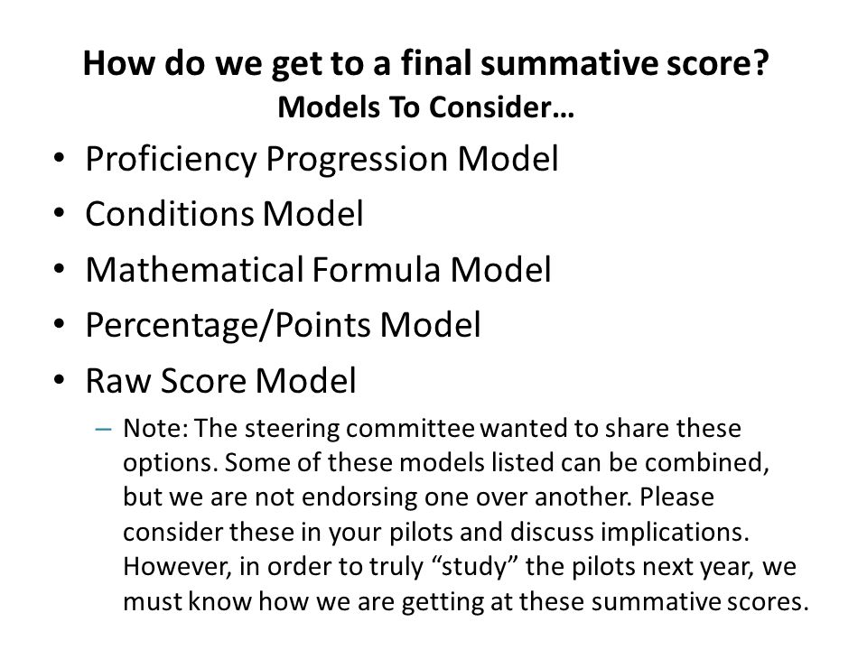 How do we get to a final summative score.