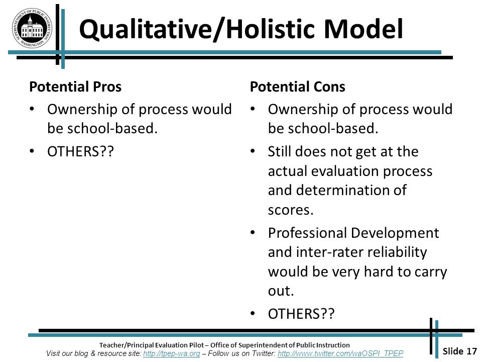 Slide 17 Teacher/Principal Evaluation Pilot – Office of Superintendent of Public Instruction Visit our blog & resource site: http://tpep-wa.org – Follow us on Twitter: http://www.twitter.com/waOSPI_TPEPhttp://tpep-wa.orghttp://www.twitter.com/waOSPI_TPEP Potential Pros Ownership of process would be school-based.