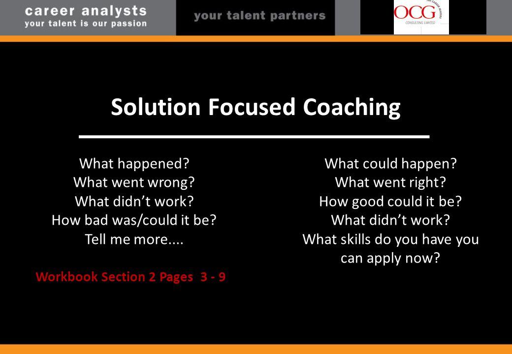 Problem Focus Solution Focus Solution Focused Coaching What happened.