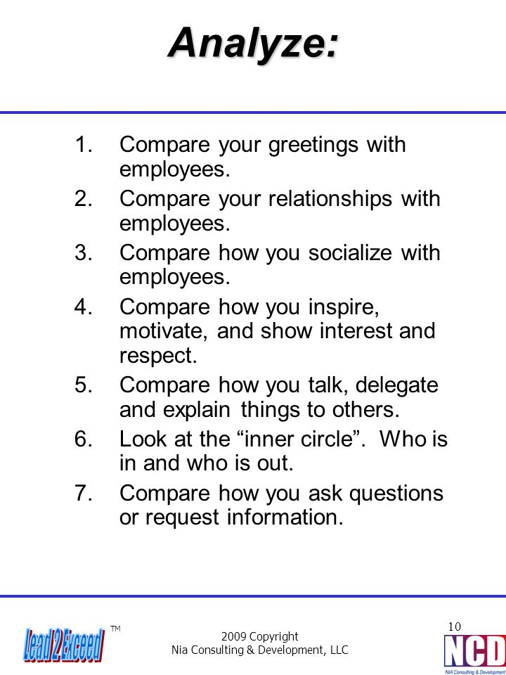 TM 2009 Copyright Nia Consulting & Development, LLC 10Analyze: 1.Compare your greetings with employees. 2.Compare your relationships with employees. 3