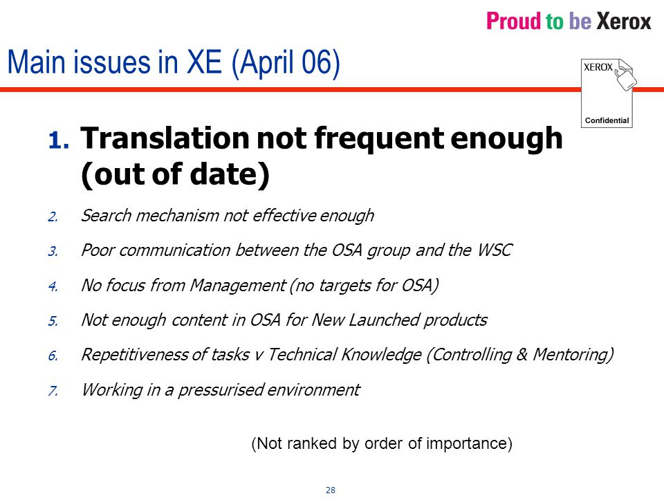28 Main issues in XE (April 06) 1. Translation not frequent enough (out of date) 2.