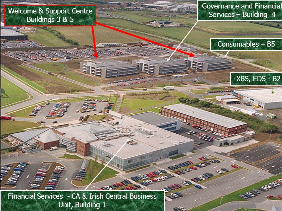 4 Welcome & Support Centre Buildings 3 & 5 XBS, EDS - B2 Governance and Financial Services – Building 4 Financial Services - CA & Irish Central Business Unit, Building 1 Consumables – B5