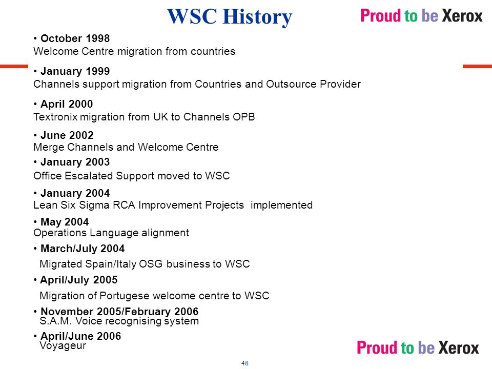 48 October 1998 Welcome Centre migration from countries January 1999 Channels support migration from Countries and Outsource Provider April 2000 Textronix migration from UK to Channels OPB June 2002 Merge Channels and Welcome Centre January 2003 Office Escalated Support moved to WSC January 2004 Lean Six Sigma RCA Improvement Projects implemented May 2004 Operations Language alignment March/July 2004 Migrated Spain/Italy OSG business to WSC April/July 2005 Migration of Portugese welcome centre to WSC November 2005/February 2006 S.A.M.