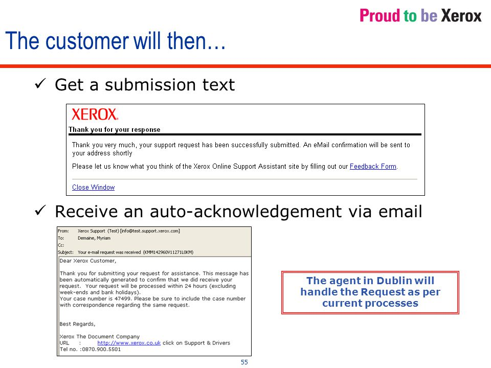 55 Receive an auto-acknowledgement via email The customer will then… Get a submission text The agent in Dublin will handle the Request as per current processes